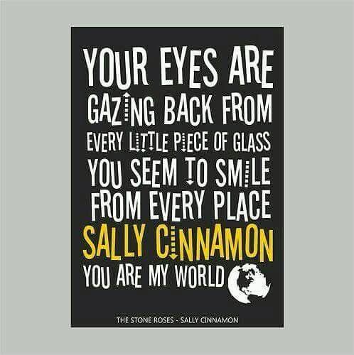 Sally Cinnamon Lyrics Art Poster Black White The Stone Roses Typography
