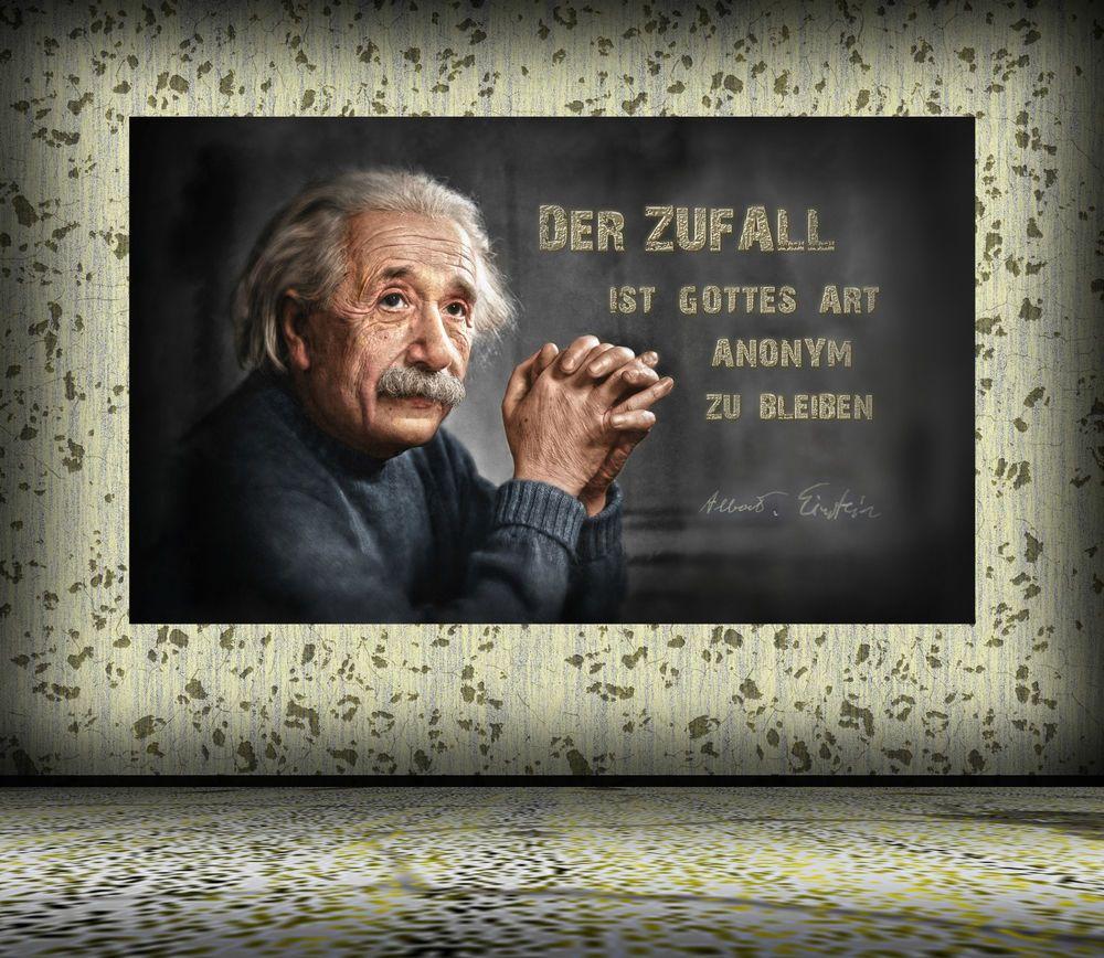 Details Zu Leinwand Oder Poster Albert Einstein Gott Bleibt Im Zufall Anonym Wirkungsvoll
