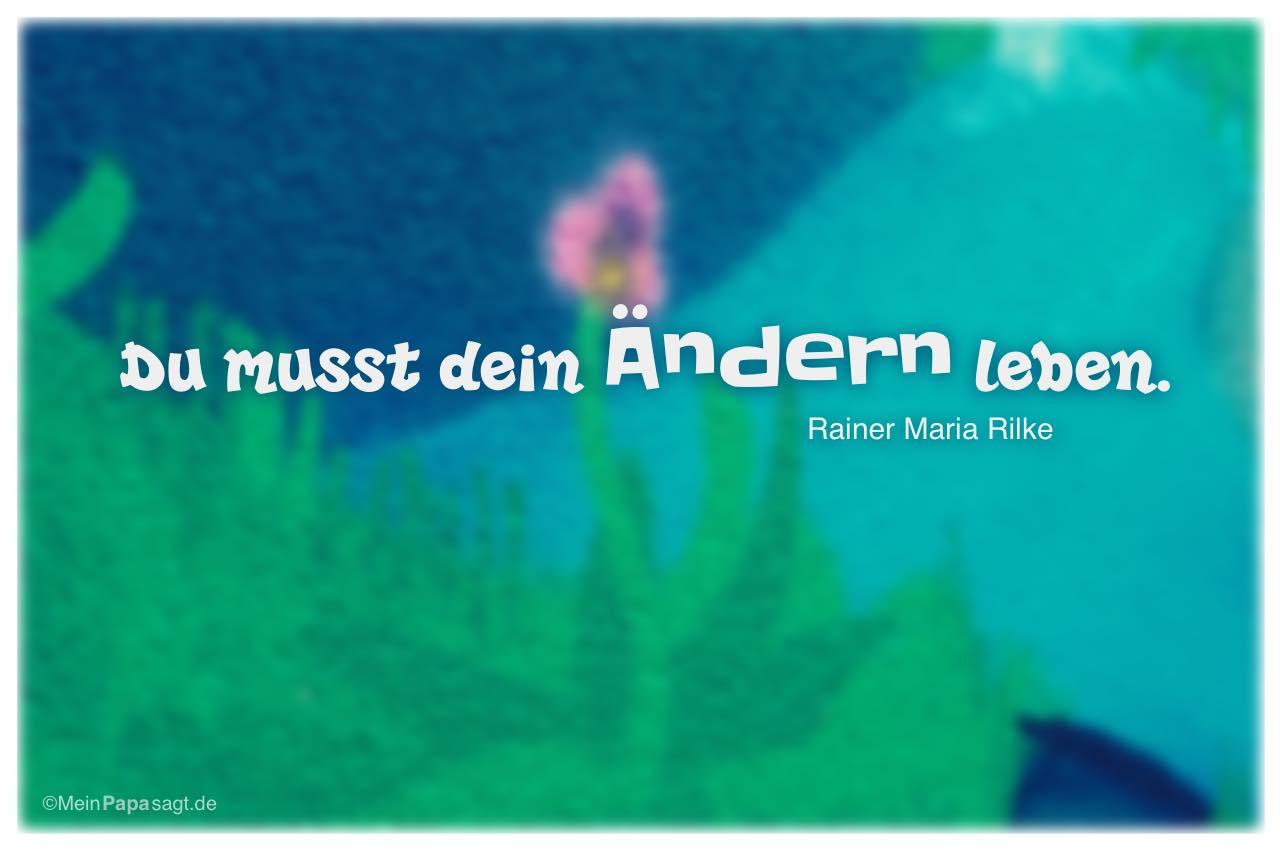 Graffiti Blume Mit Dem Rainer Maria Rilke Zitat Du Musst Dein Andern Leben Rainer