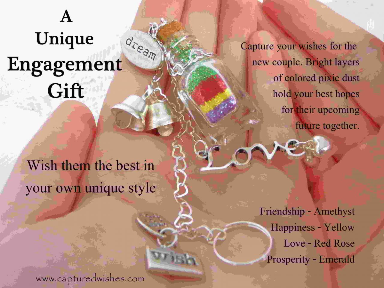 A Unique En Ement Gift Colorful Layers In A Miniature Bottle Adorned With Silver Chain And