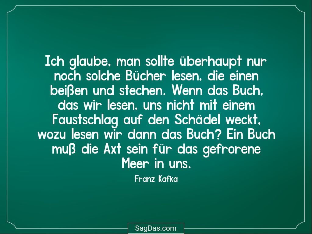 Franz Kafka Zitat Ich Glaube Man Sollte Uberhaupt