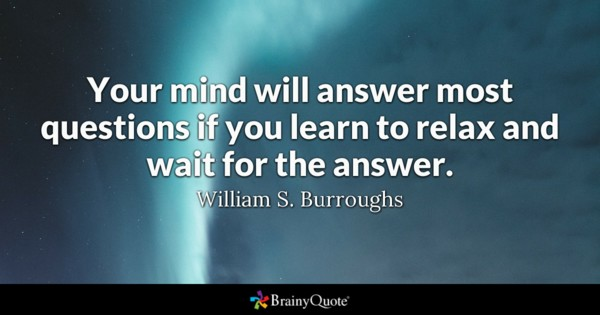 Your Mind Will Answer Most Questions If You Learn To Relax And Wait For The Answer
