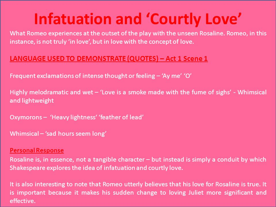 Compare and contrast love and infatuation