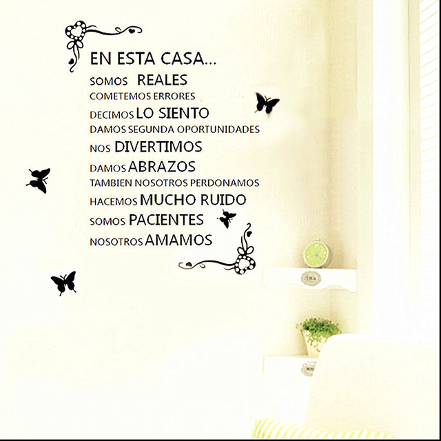 Love Quotes Spanish Home Rules En Esta Casa Stencil Letters Wall Sticker For Home Decor