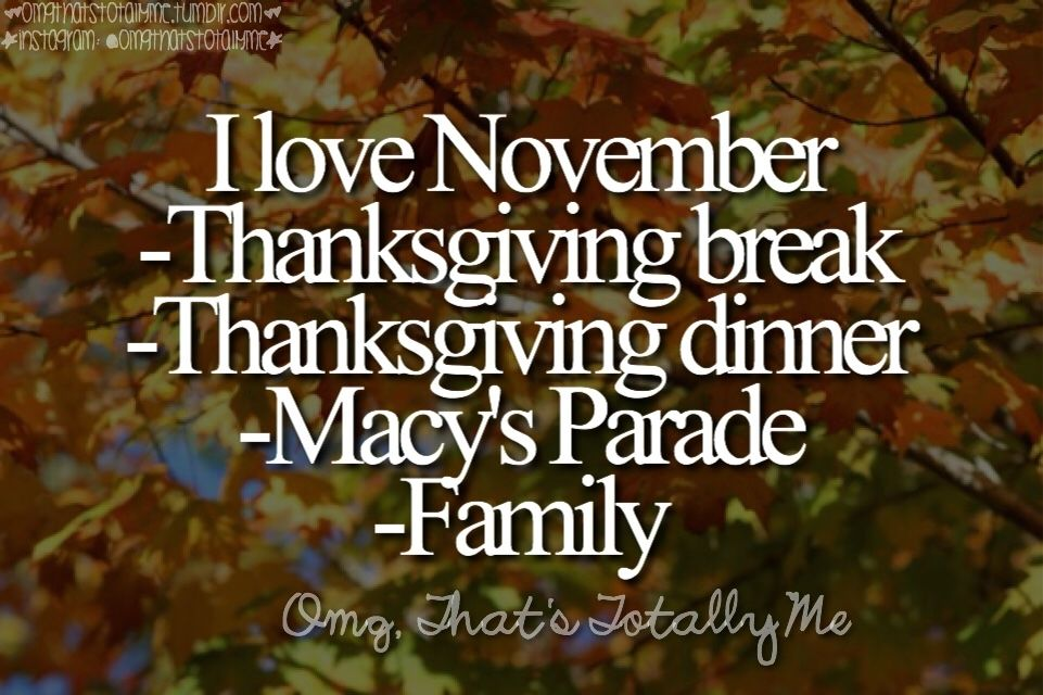 I Love November Thanksgiving Break Dinner Macys Parade Family