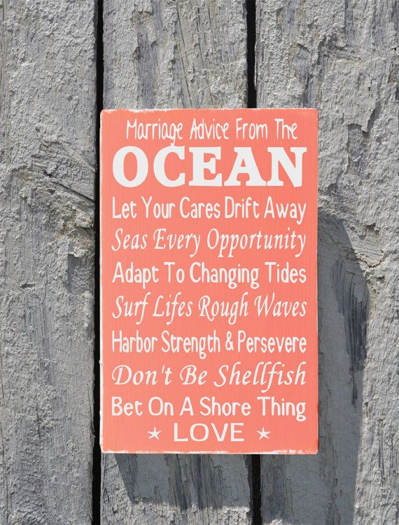 Beach Wedding Sign Rustic Decor Custom Colors Couples Unique En Ement Elopement Wedding Gift Marriage Advice From The Ocean Love Quotes Anniversa