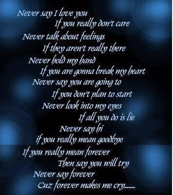 Does Any One Know The Quote That Says Something Like Never Love Me Never Say Forever Bc Forever Made Me Cry Its Kinda Long