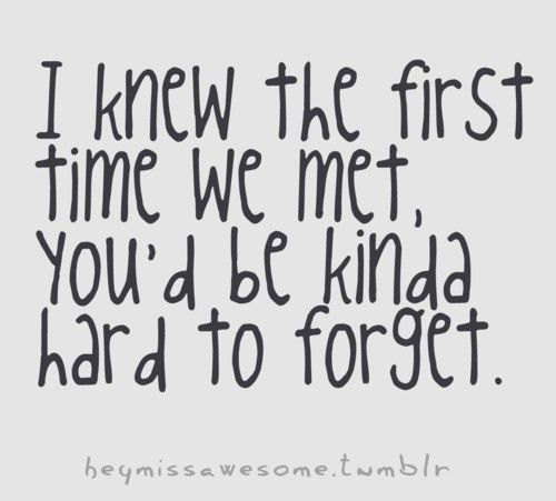 I Knew The First Time We Met Youd Be Kinda Hard To Forget
