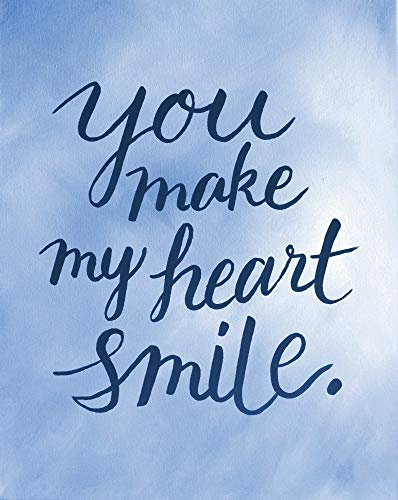 You Make My Heart Smile Love Quote Art Decor Quote Print Blue Valentines Day Gifts For