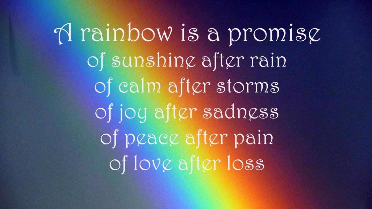 A Rainbow Is A Promise Of Sunshine After Rain Of Calm After Storms Of Joy After Sadness Of Peace After Pain Of Love After Loss