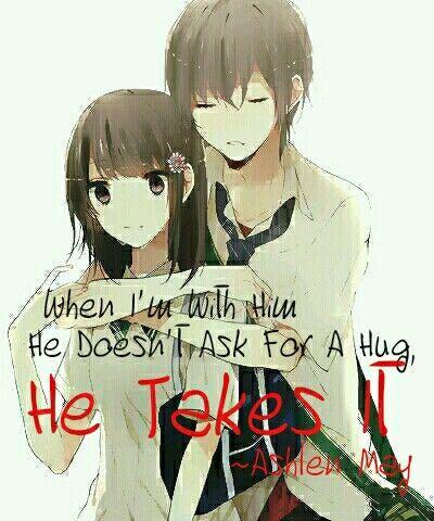 Anime Couple Hug Quote