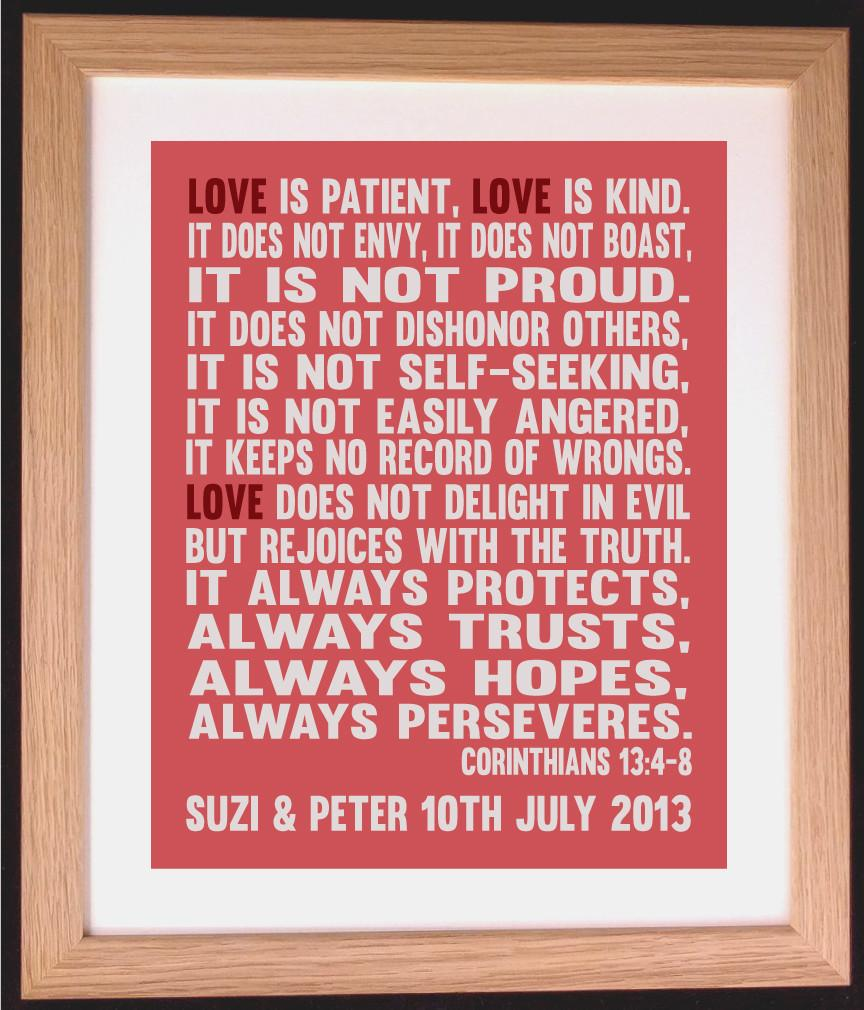 Personalised   Bible Verse Love Is Patient Love I Arty Alphabet