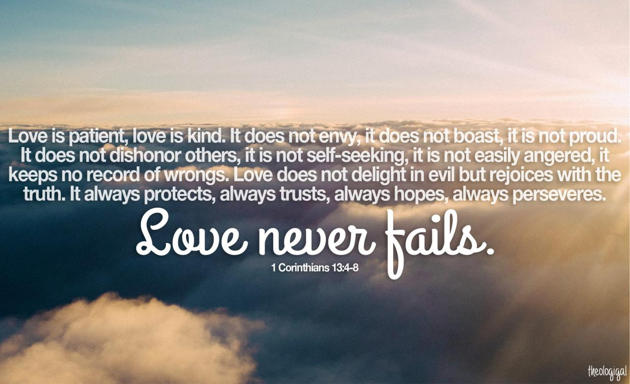 Bible Verse  Love Is Patient Love Is Kind Love Never Fails