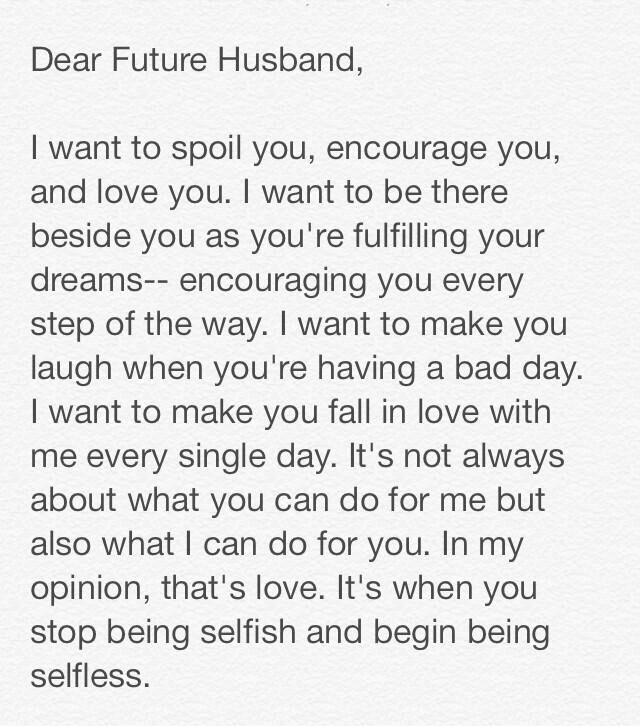 To My Future Husband On