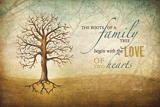 Ma The Roots Of A Family Tree Begin With The Love Of Two Hearts Textured Finished Wall Decor Ready To Hang By Marla Rae
