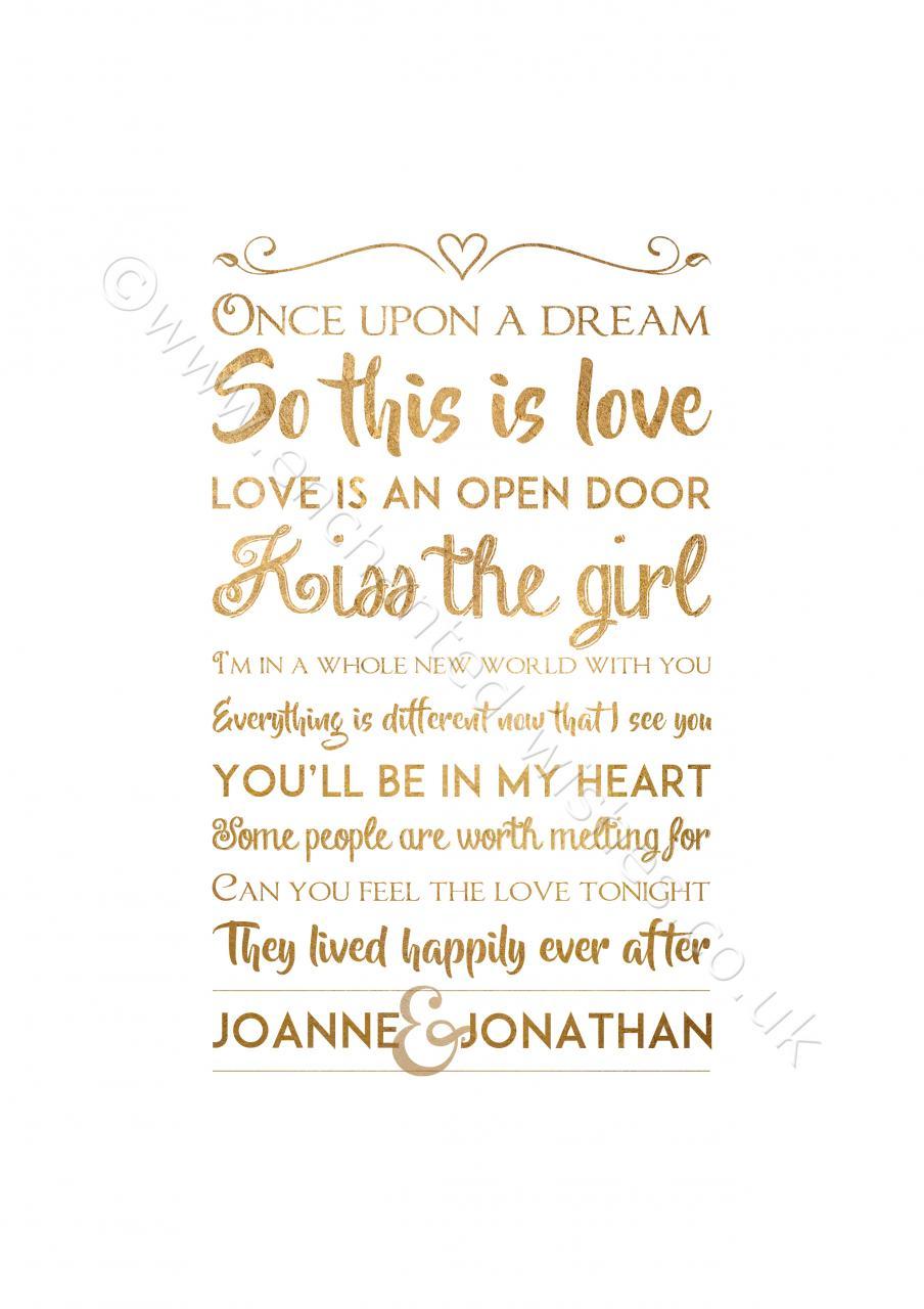 Disney Love Quotes Personalised Disney Love Quotes Typography Print Personalised