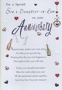 Weddings Anniversary En Ement Cards Family Anniversary Cards Son Daughter In Law For A Special Son Daughter In Law On Your Anniv