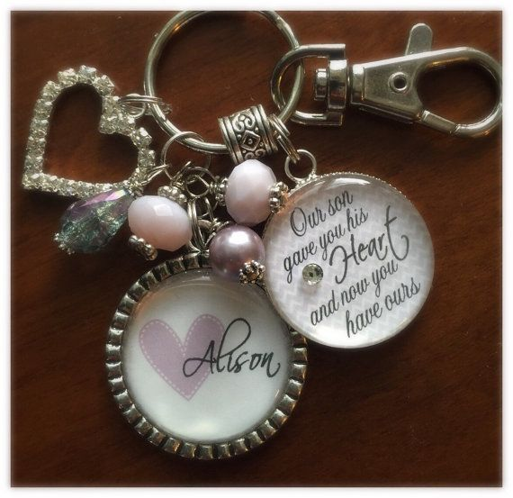 Future Daughter In Law Gift Personalized Bride To Be Our Son Picked You And We Would Too Wedding Date Purple Quote Key Chain