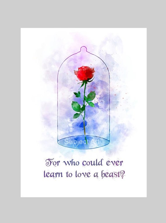 Enchanted Rose Quote Art Print Il Ration Beauty And The Beast Disney Wall Art Home Decor