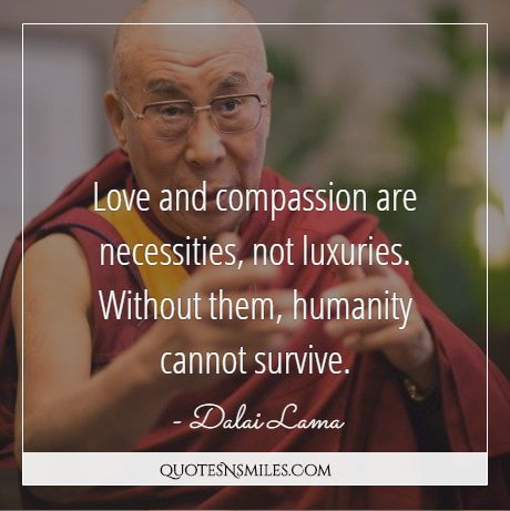 Dalai Lama Love And Comp Ion Are Necessities Not Luxuries Without Them Humanity Cannot Survive