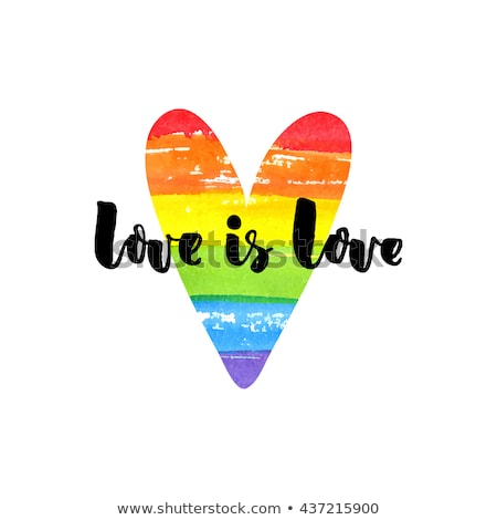 Love Is Love Inspirational Quote On Rainbow Heart Pride Sloganuality Emblem