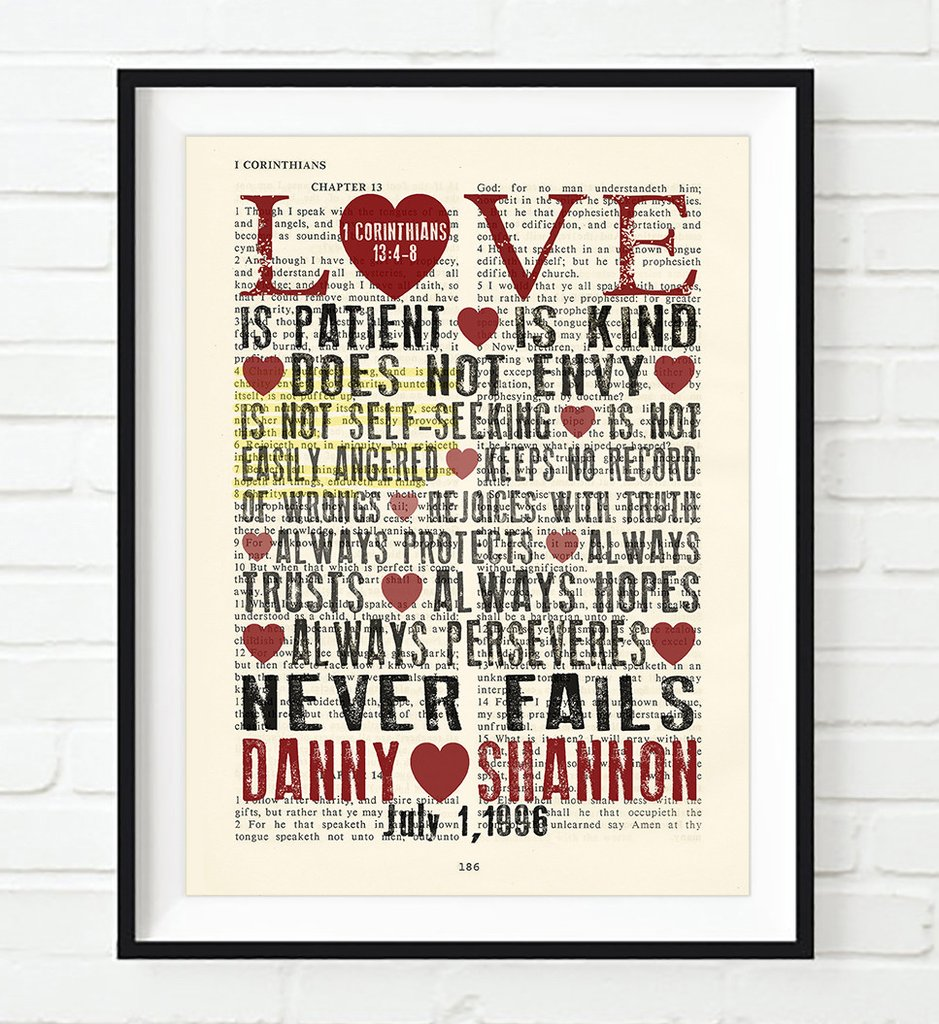 Love Is Patient   Personalized Bible Verse Art Print