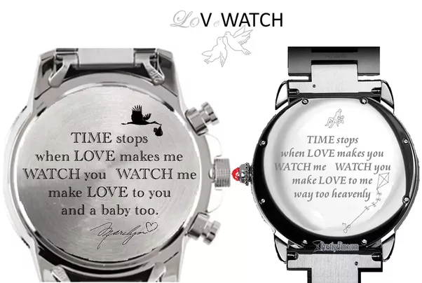 Led Love Time Watch  C B Shows A Mirrored  E    E   Pair Of Watches Engraved On The Back With A Pair Nrs  Of Mirrored Love Messages