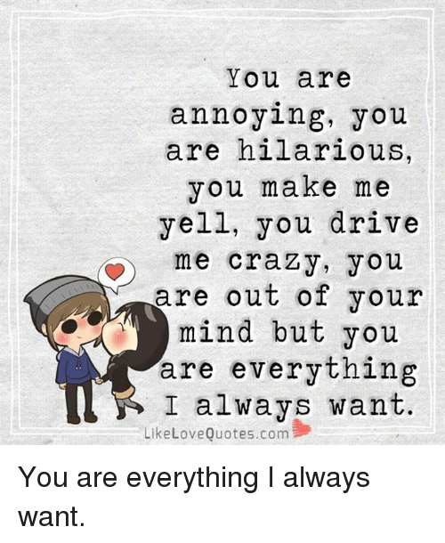 Crazy Love And Memes You Are Annoying You Are Hilarious You