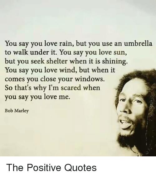 Bob Marley Love And Windows You Say You Love Rain But You