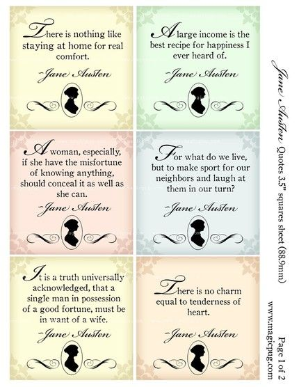 Jane Austen Quotes Jane Austen Quotes   Inch Squares Digital Collage Sheet Use This