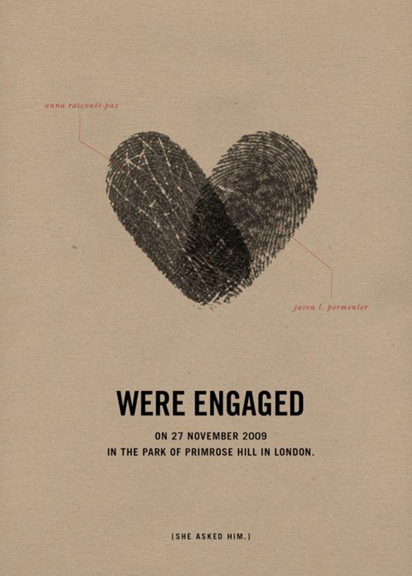 Fingerprint En Ement Announcement Via Brooklyn Bride