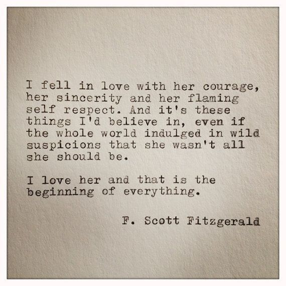 Scott Fitzgerald Typewriter Quote On Love Handtyped Quote Typewriter Quote