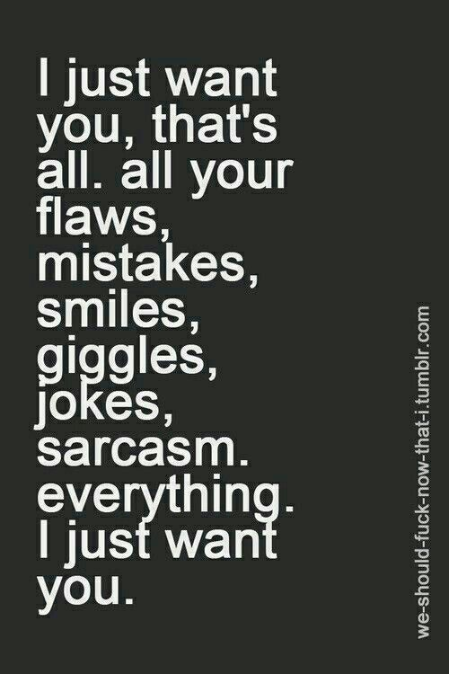 I Just Want You Thats All All Your Flaws Mistakes Smiles Giggles Jokes Sarcasm Everything I Just Want You