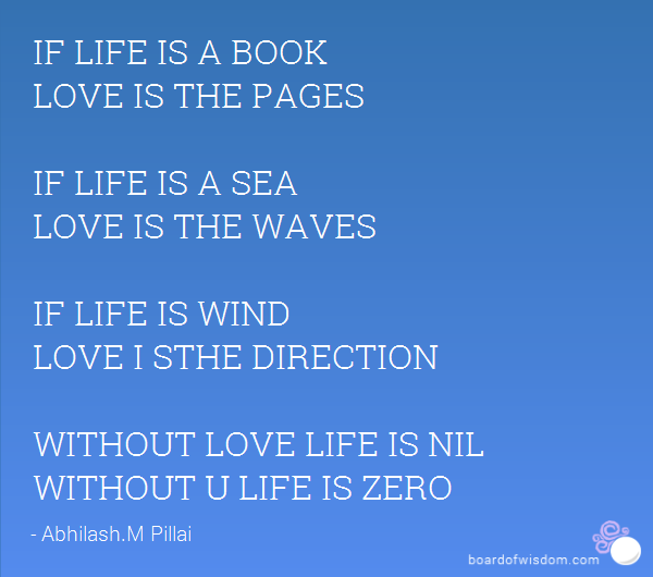 If Life Is A Book Love Is The Pages If Life Is A Sea Love Is The Waves If Life Is Wind Love I Sthe Direction Without Love Life Is Nil Without U Life Is Zero