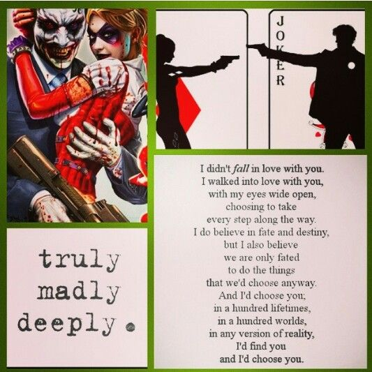 Joker And Harley Quinn Mad Love Quotes Hover Me