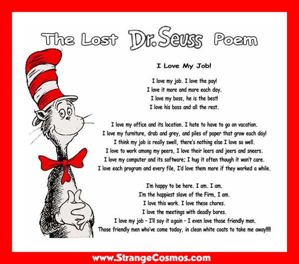 Dr Seuss Cat In The Hat Poem I Love My Job