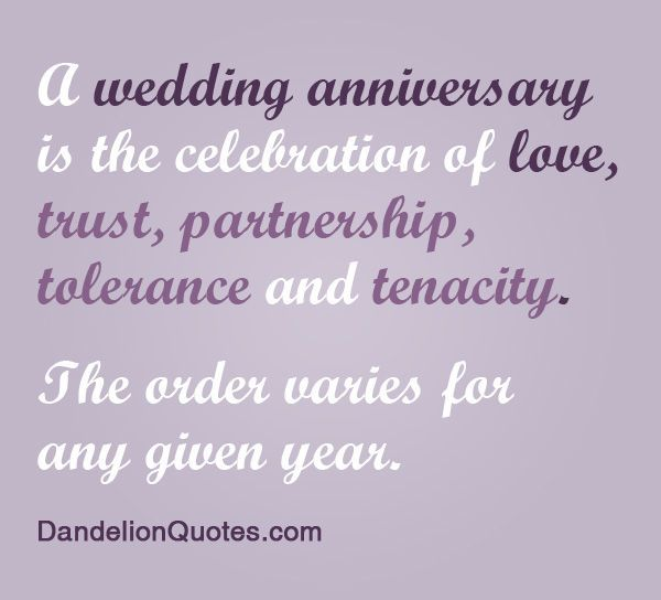 A Wedding Anniversary Is The Cele Tion Of Love Trust Partnership Tolerance And