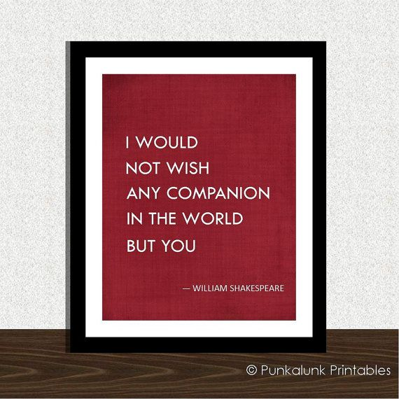Shakespeare Wedding Quote Shakespeare Romantic Print Anniversary Gift Tempest