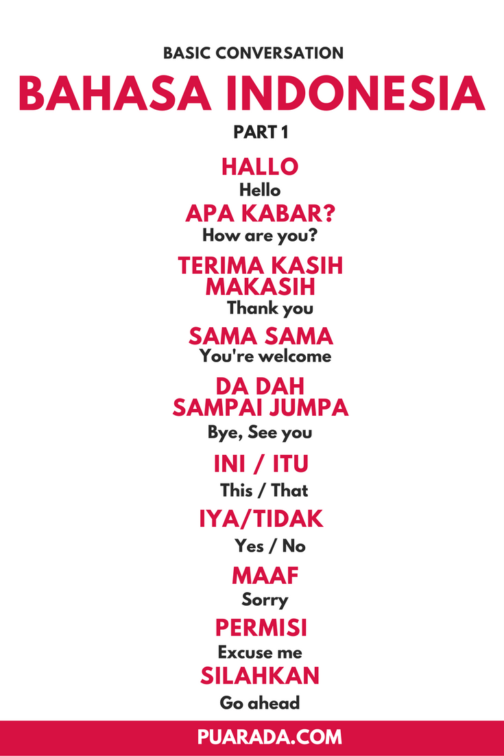 Here Are Some Basic For Bahasa Indonesia This Is Specially For People Who Are Going