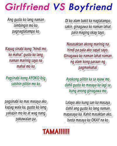 Tagalog Girlfriend Vs Boyfriend Quotes Image Trend  E   Where Philippine Trend Happens