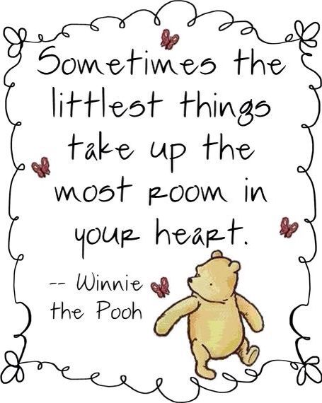 Sometimes The Littlest Things Take Up The Most Room In Your Heart Winnie The Pooh Cute Baby Quote