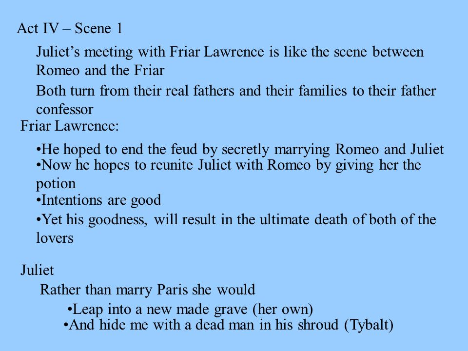Act Iv Scene  Juliets Meeting With Friar Lawrence Is Like The Scene Between Romeo