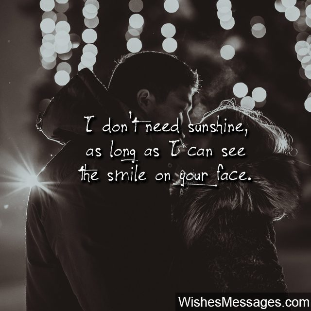 Couple Kissing Romantic Quote Your Smile Is My Sunshine