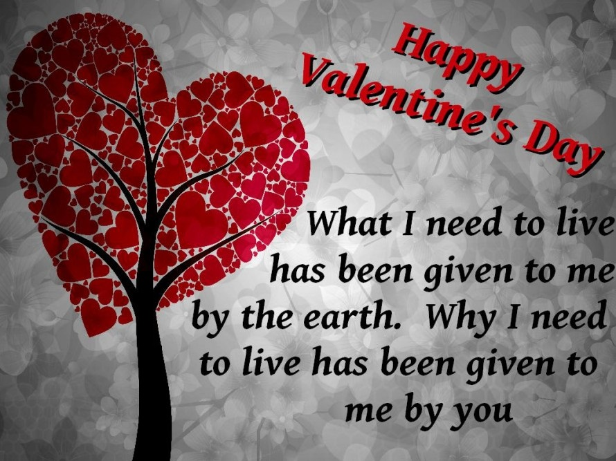 Heart Tree With Lovely Quotes For Valentines Day