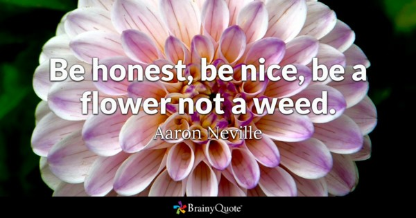 Be Honest Be Nice Be A Flower Not A Weed Aaron Neville