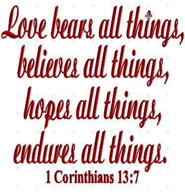 Bible Verse Corinthians  Love Bears All Things By Craftyjacky