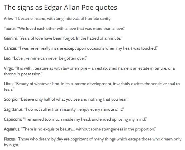 Edgar Allen Poe Quotes For The Signs Mine Is Accurate Af
