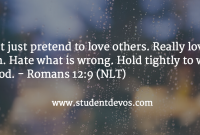 Dont Just Pretend To Love Others Really Love Them What Is Wrong Holdly To What Is Good Romans