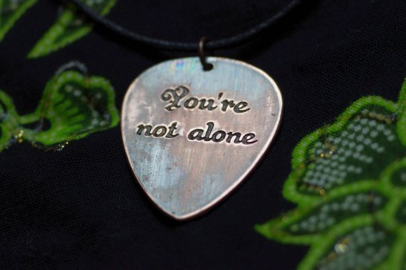You Are Not Alone Love Quotes Guitar Pick Necklace Large Cl Y Picknd Love Quotes Guitar Gifts For Boyfriend Son Dad