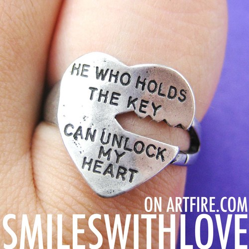 Love Quote Key Ring Silver He Who Holds The Key Can Unlock My Heart